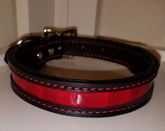 Leather alligator print dog collar/ Leather dog collar