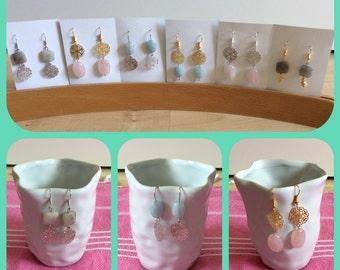 Handmade earrings with pastel gemstones