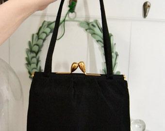 Vintage black handbag 40s purse, original
