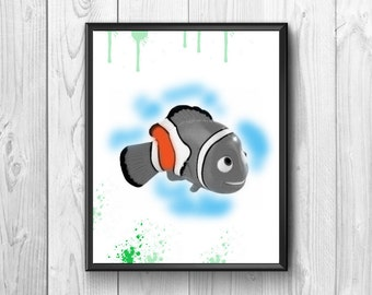 Nemo, cute fish, wall poster for kids room
