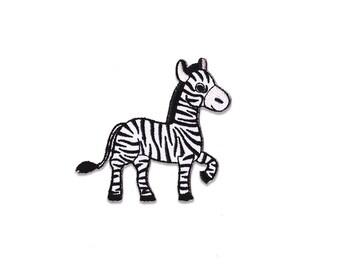 Zebra Patch - Zebra Embroidered Iron on Patch - Zebra Iron on Applique