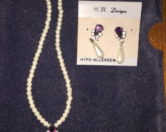H.W. Designs Pearl and Rhinestone Necklace and Earring Set