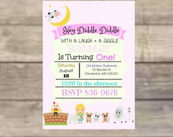 Nursery Rhyme, Three Blind Mice, Little Bo Peep, Humpty Dumpty, Dish and Spoon, Birthday Invitations, Digital Print