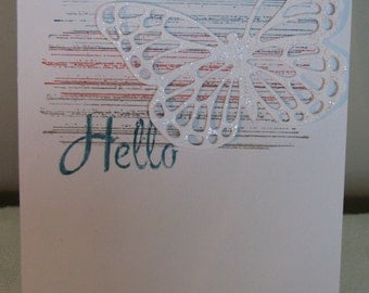"Iridescent Butterfly ""Hello"" greeting card"