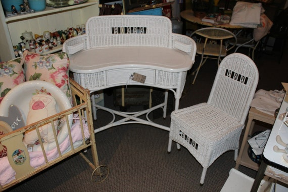 JUST REDUCED! Antique White Wicker Desk & Chair Set
