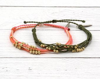 Waxed Cord Surfer Bracelet, Gold Beaded Friendship Bracelet, Stackable Boho Surfer Bracelet, Waterproof Wax Cord Bracelets, Custom Color