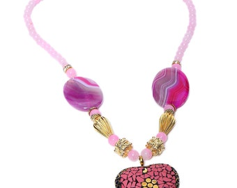 Pink Pitch Ethnic Semi-Precious Beaded Necklace ACN18