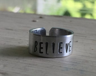 Inspirational Ring - Believe - Hand Stamped Ring - Motivational Jewelry - Quote Ring - Gift For Her - Mom - Sister - Best Friend Gift