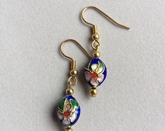 Cloisonne inky blue earrings
