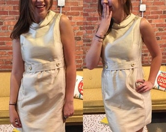Vintage 1960's Mod Minidress in Pale Gold