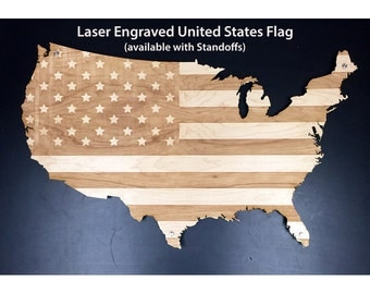 Laser Engraved | American Flag | United States Map