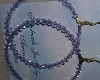 Lavender Crystal Hoop Earrings