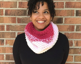Hand Knit Cowl | Ombre Cowl | Hand Knit Infinity Cowl ||| THE MONTCLAIR COWL (in pinks)
