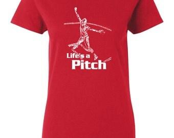 Life's A Pitch Funny Softball Shirt Sports Tshirt