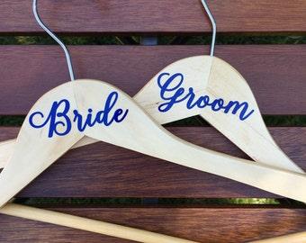 Bride and Groom Vinyl Wedding Dress Hanger Set, Wood Hanger, Wedding Gift, Wedding Photo Prop, Bridal Shower Gift Idea, Bride Hanger, Groom