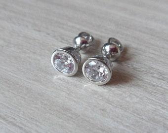 Sterling Silver Stud Earrings Crystals Screw back