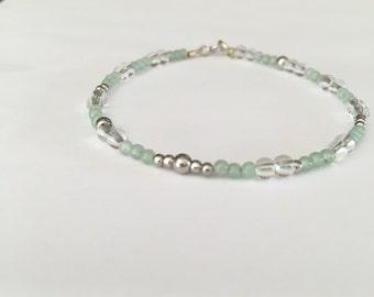 Minimalist bracelet, 14k white gold, soothing bracelet, aventurine bracelet, Quartz bracelet, gemstone bracelet, boho bracelet, gift for her