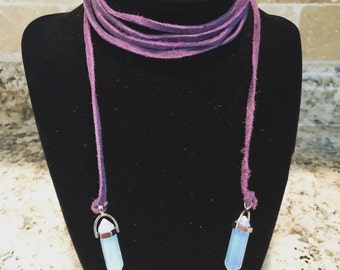 Purple Double Wrap Crystal Necklace