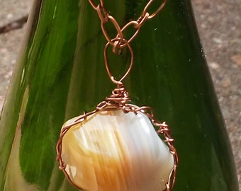 Banded Carnelian Pendant Wire wrapped with Copper