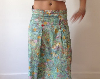 80s handmade skirt floral pattern size 38/ M
