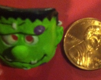 Dollhouse Miniature green Frankenstein Halloween mask