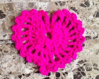 Crochet pink heart. Crochet pink hear drink coaster.