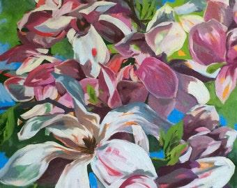 Original Oil Painting of Magnolias