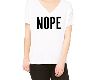 Nope Slouchy V-Neck Tee, White T-Shirt