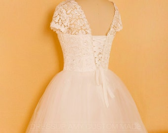 Made To Order Sweetheart Cap Sleeve Lace Tulle Wedding Dress