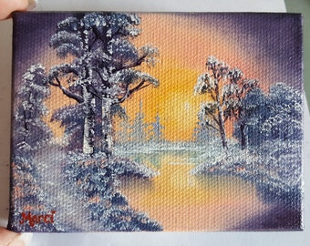 "Original Oil Painting, MINIATURE, Bob Ross Style, 4""x3"", At Dawn's Light, Landscape. Mini Oil Painting. By Marci."