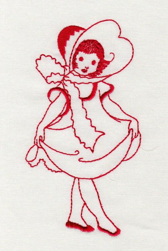 Vintage children redwork machine embroidery designs from