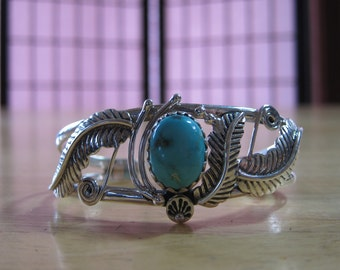 925 Sterling Silver Cuff Bracelet with Natural Turquoise