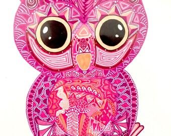 """Zentangle Owl Baby - """"Hoot (Strigiformes)"""""""