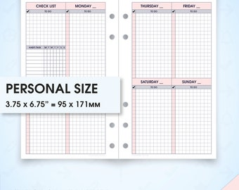 Weekly filofax personal size planner inserts undated printable wo2p.s (weekly planner inserts, printable weekly planner, week on two pages)