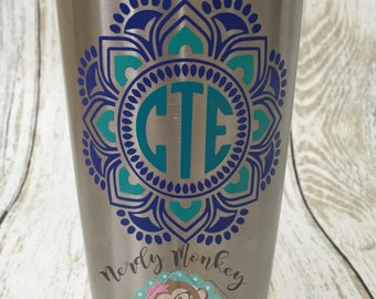 Monogram Mandala Vinyl Decal // Personalized Mandala // Gifts // Custome decal