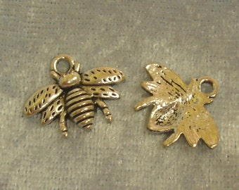 6 x Bumble Bee Charms - Tibetan Silver