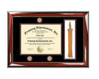 graduation tassel diploma frame university college degree triple medallion seal logo graduation plaque certificate framing plaque - Dual Diploma Frame
