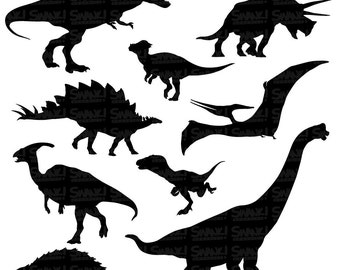 Dinosaurs Clipart | Silhouettes | SVG/PNG/EPS/ Files | T-Rex | Triceratops | Stegosaurus | Raptor | Pterodactyl | Personal & Commercial Use