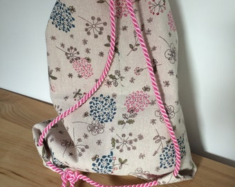 Girl's pink and blue flowers PE bag - can be personalised