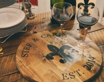 Rustic Wine Barrel Serving Tray - Cheese Tray - House Warming Gift - Wedding gift - Antipasto Tray - Monogram - Custom Gifts