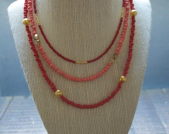 Shanghai Triple Layer Beaded Necklace