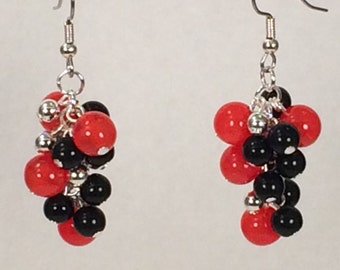 Orange Black and Silver Cluster Earrings