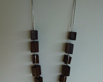 48H delivery - long necklace, wood beads, geometric beads, cubes, large beads, cubes, avant-garde, minimalist, accessory was
