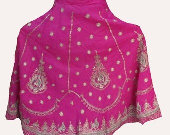 Pink Handmade Vintage Skirt Hand Embroidered Indian Belly Dance Skirt