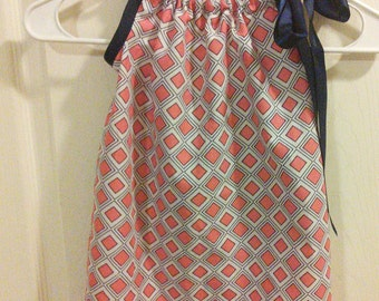 Orange and Navy pillow case dress 18mos. to 2t.