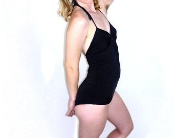 One-Piece Halter Swimsuit in Black