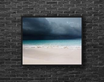 Stormy Sky Photo - Sea Photo - Turquoise Sea Photo - Skyline - Sea Storm Photo - Sea Wall Art - Sea Wall Decor - Sea Home Decor