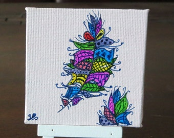 Zentangle Feather Drawing on a Mini Canvas