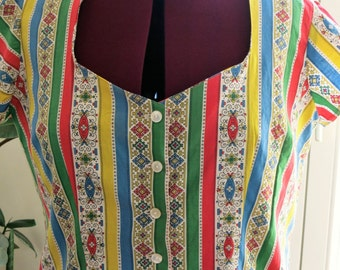 1950s style blouse made from real vintage fabric