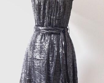 Metallic silver strappy party dress